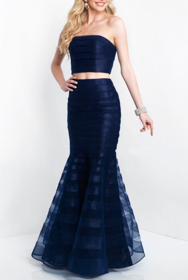 Blush Prom 11507 Navy Blue Two Piece Mermaid Dress