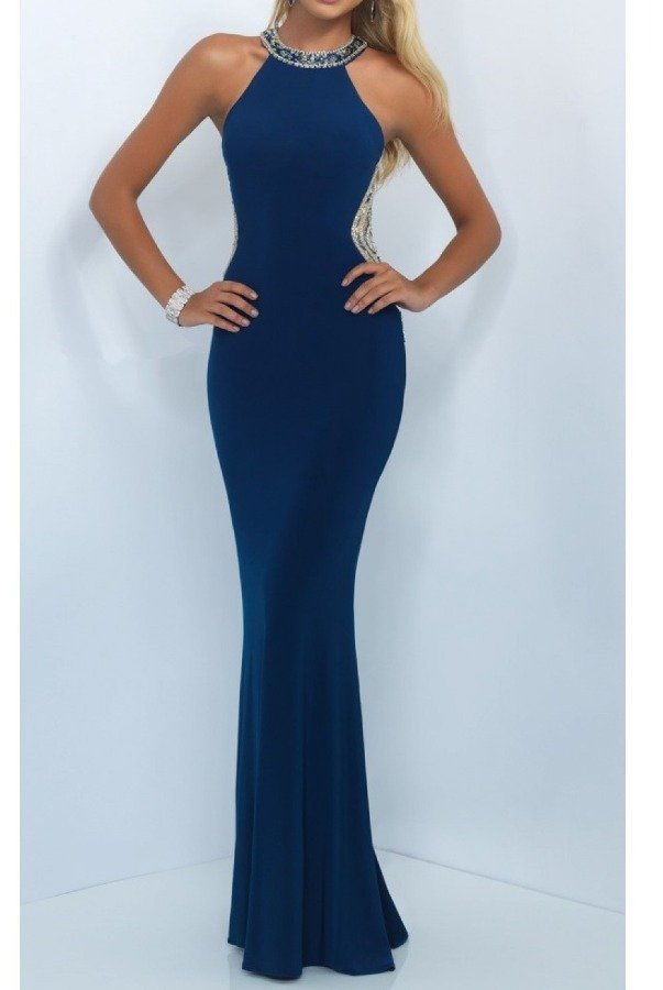 Blush Prom 11039 Navy Blue Beaded High Neck Illusion Gown