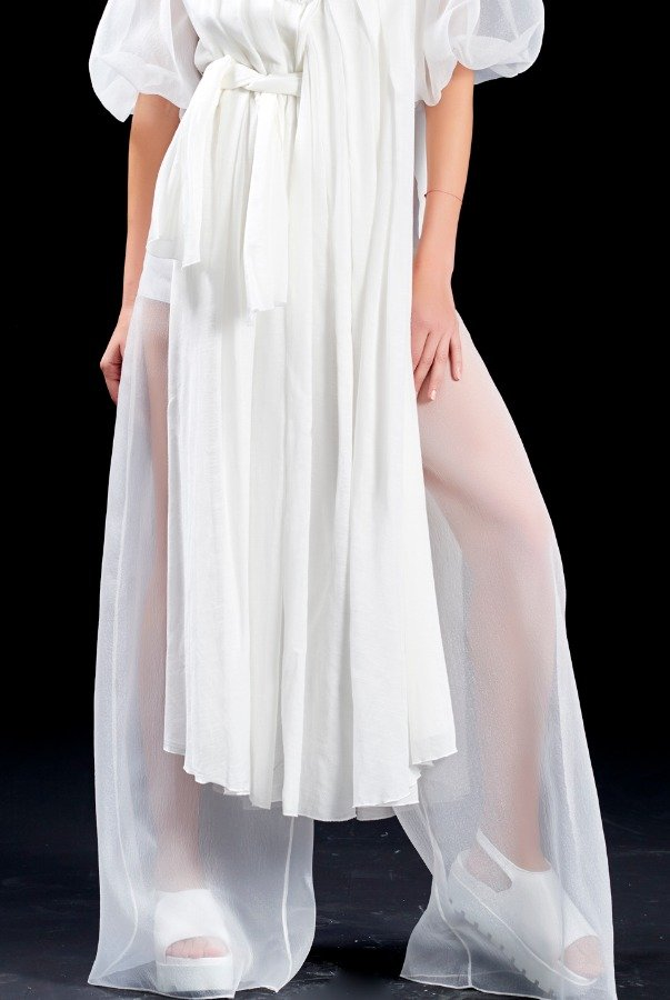 John Paul Ataker White Wide Organza Pants JPA 1571