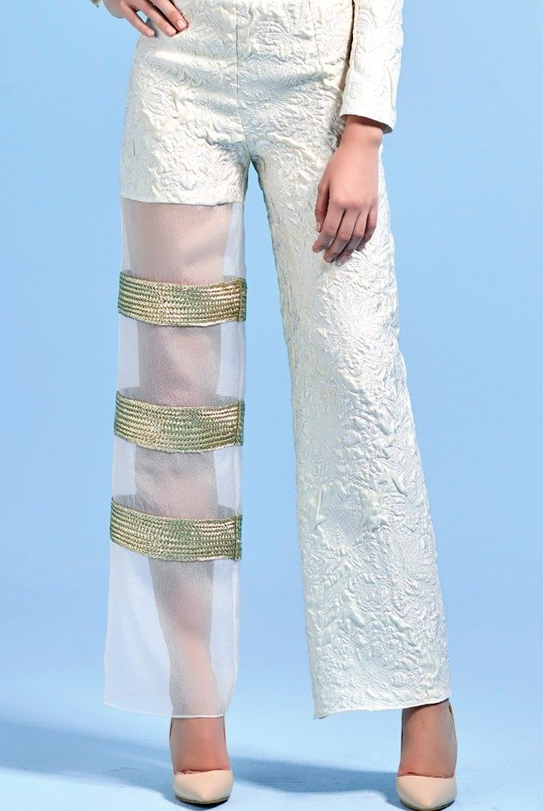 John Paul Ataker Metallic Cord Detailed Organza Jacquard Pants