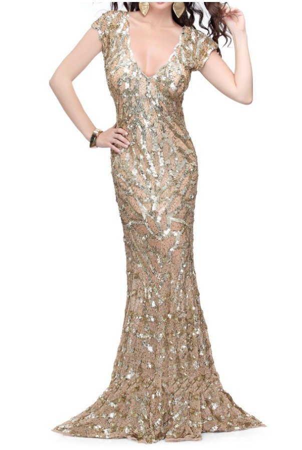 Primavera Couture Fluid evening sequin gown with fountain skirt