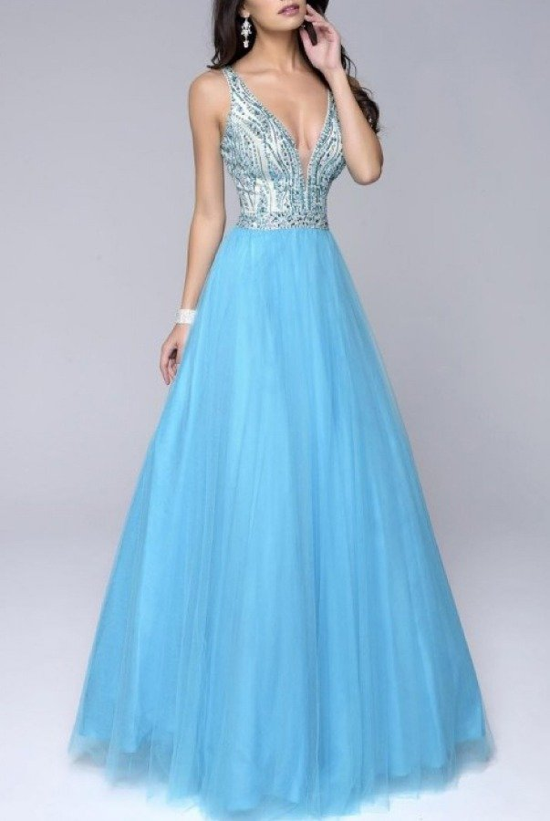 Nina Canacci Blue Tulle Ball Gown 1241