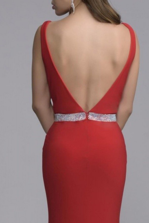 Nina Canacci Red Plunging Fitted Gown 7230-R