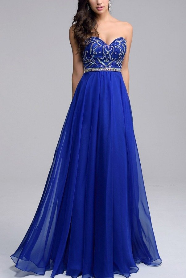 Nina Canacci Blue Sweetheart Embellished Gown 1201