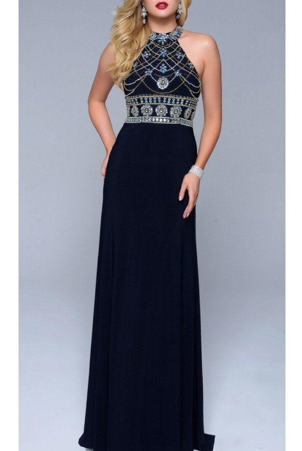 Nina Canacci Navy Beaded High Neck Gown 1238