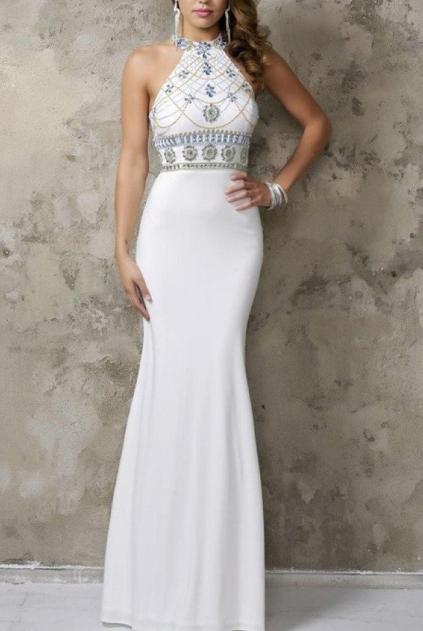 Nina Canacci White Beaded High Neck Gown 1238