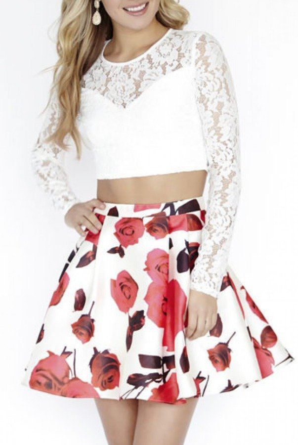 Jolene White Lace Floral Long Sleeve Two Piece 17547