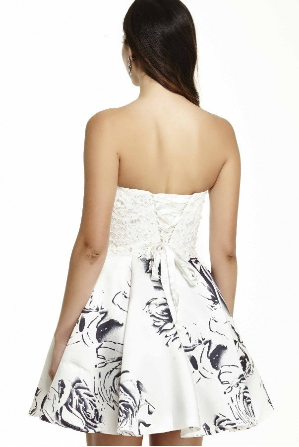 Jolene Two Tone  Strapless Cocktail Dress With Lace 16514