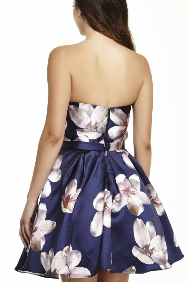 Jolene Navy Floral Fit and Flare Cokctail 16507