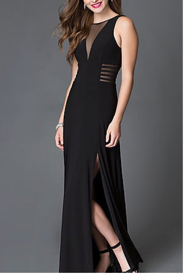 Morgan and Company Black Sleeveless Illusion Side Cut Out Gown 12173