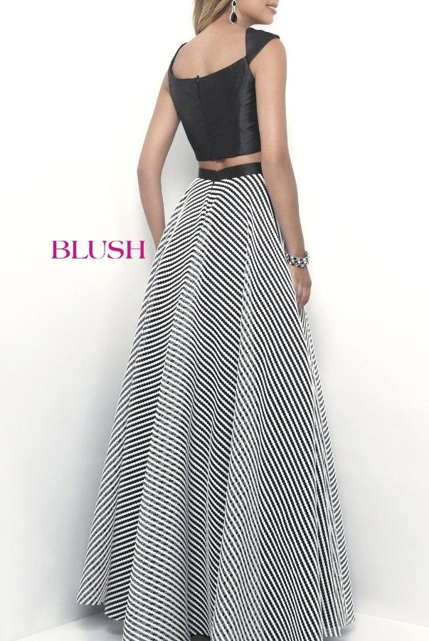 Blush Black and White Cap Sleeve A-Line Two Piece 11336