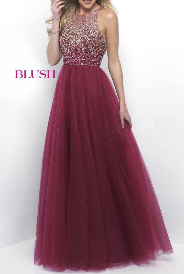 Blush Prom Beaded Sangria Halter Open Back Gown 11258