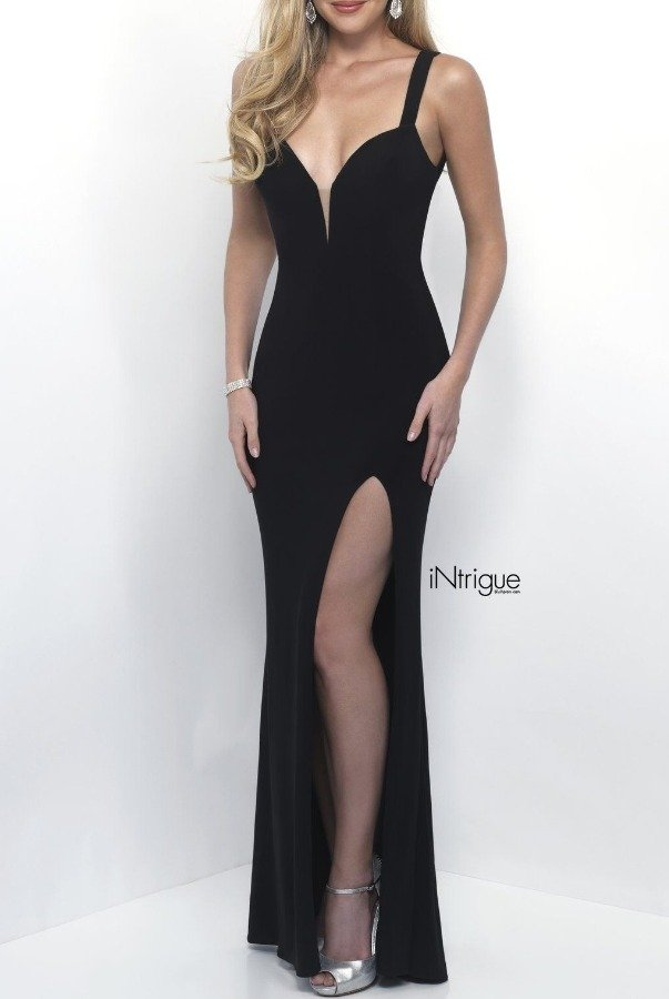 Blush Prom Black Backless Jersey Gown with Slit 299
