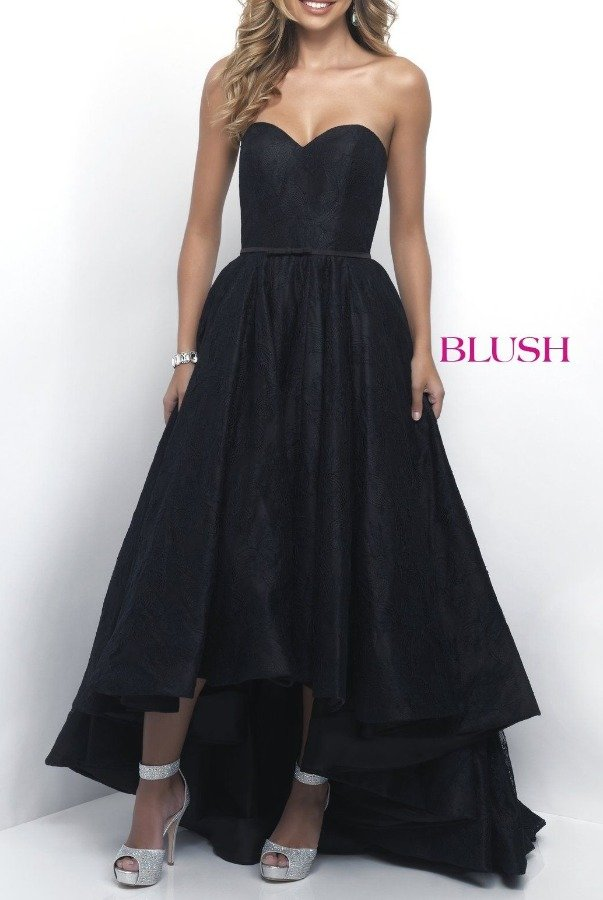 Blush Prom Black  Hi- low Sweetheart A Line Gown 5628