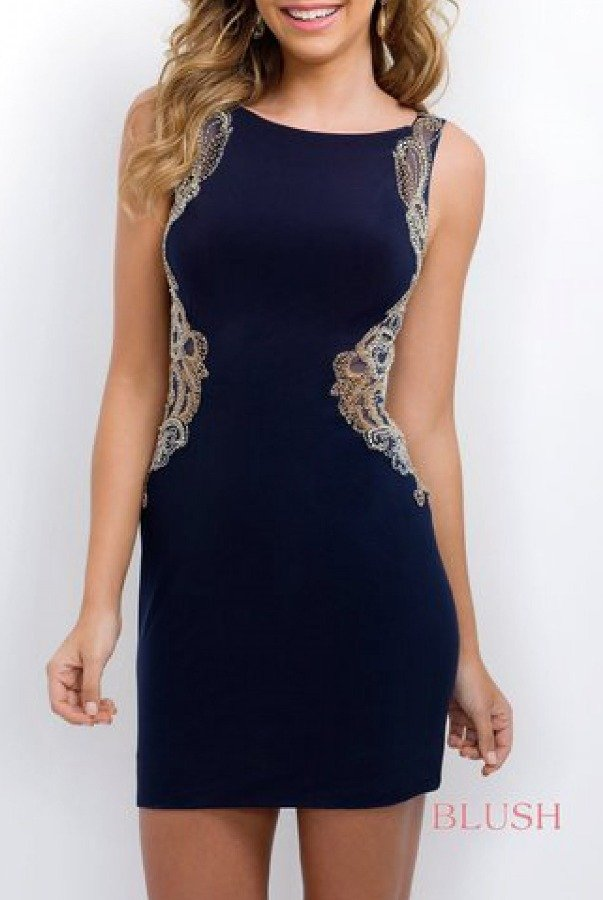 Blush Prom Navy Jeweled Back Jersey Cocktail Dress 204