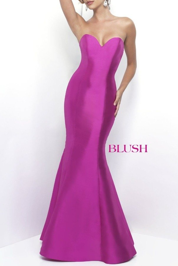 Blush Prom Pink Strapless Ruffle Open Back Gown 11238
