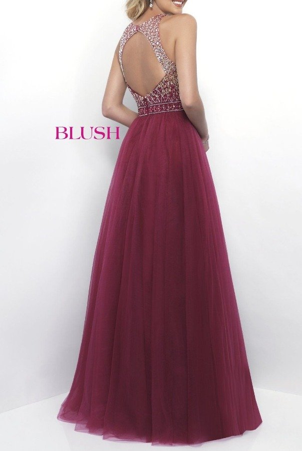 Blush Prom Navy Halter Open Back  Beaded  A Line Gown 11258