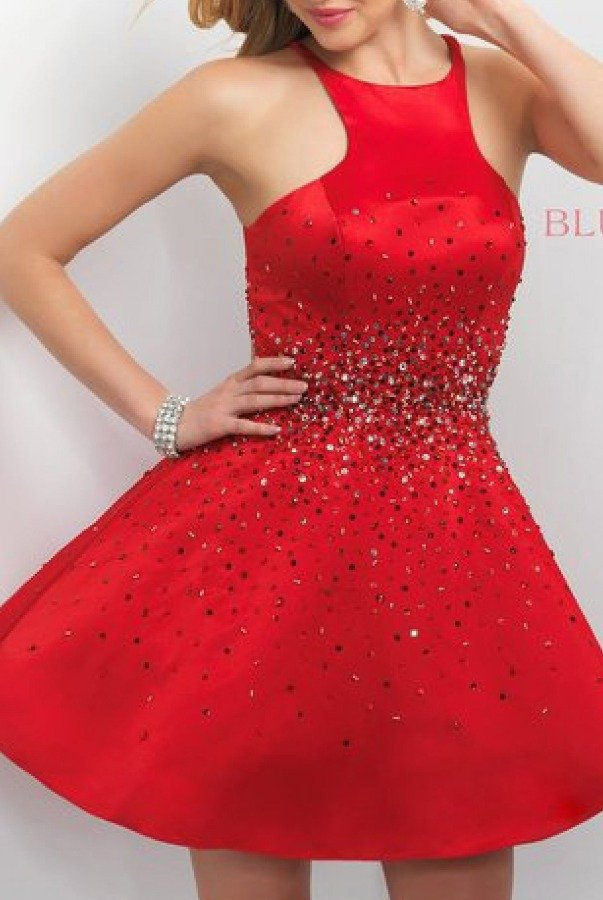 Blush Prom Red High Neck Cocktail Dress 239