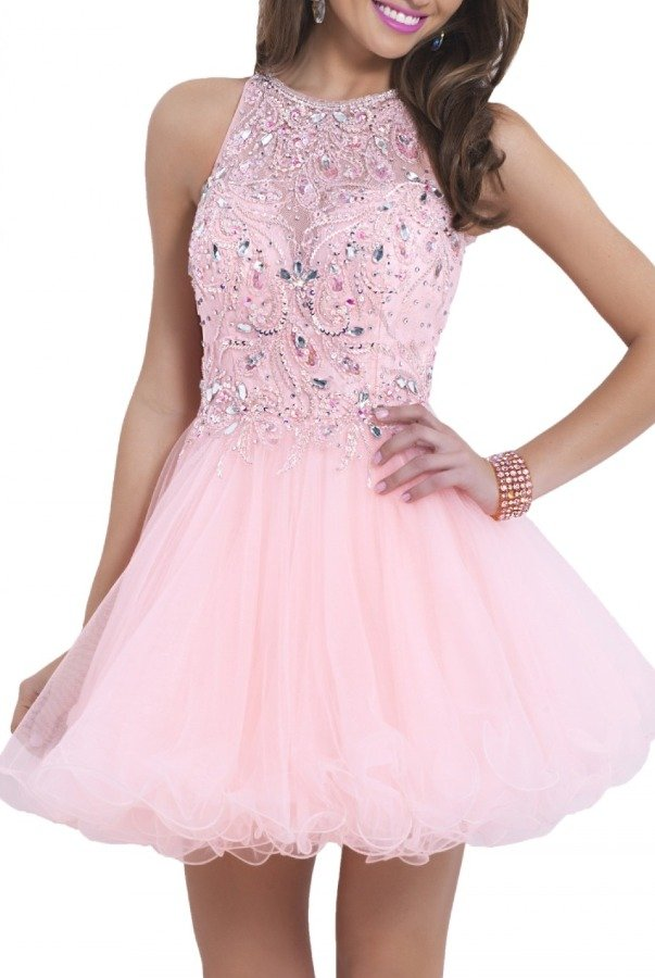 Blush Prom Apricot Illusion Cocktail Dress 9854