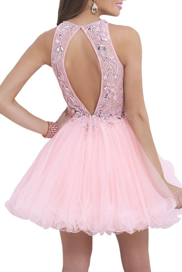 Blush Apricot Illusion Cocktail Dress 9854