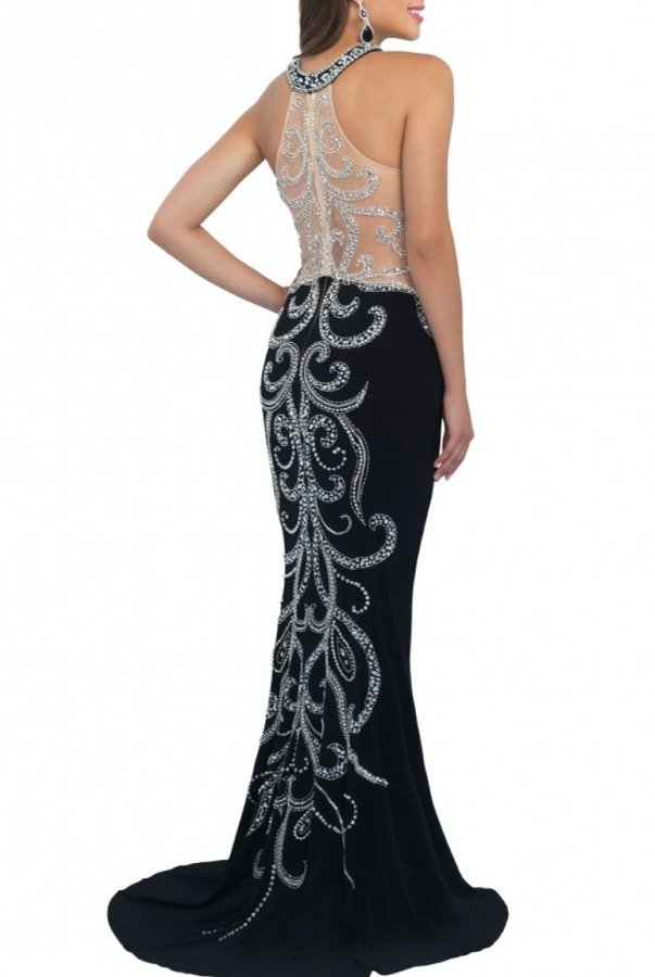 Blush Prom Black Beaded Halter Gown 11017-B