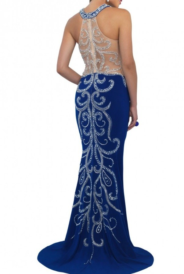 Blush Prom Sapphire Beaded Halter Gown 11017-S