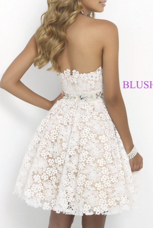 Blush Prom Ivory Nude Strapless Floral Lace Dress 9900
