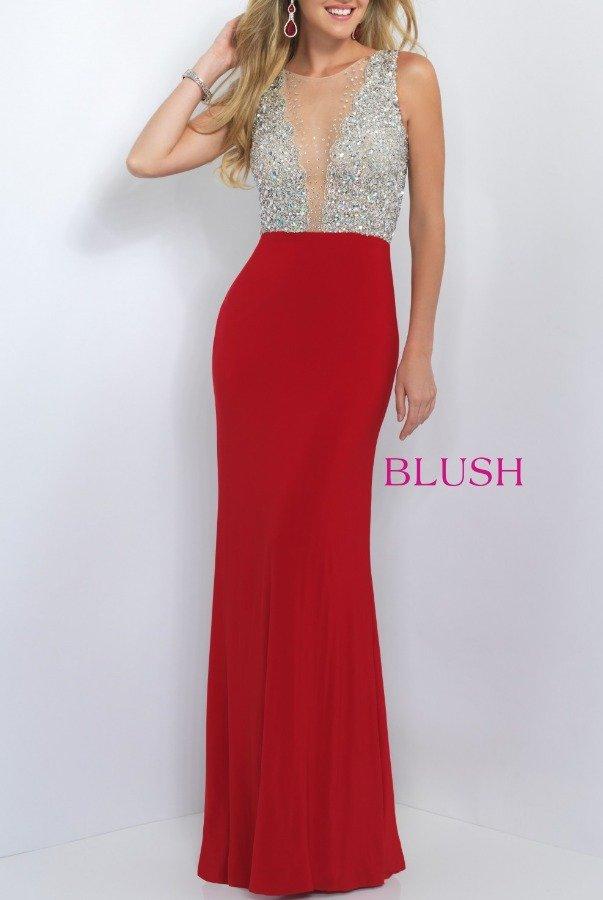 Blush Prom Two Tone Jersey Knit Gown 11009