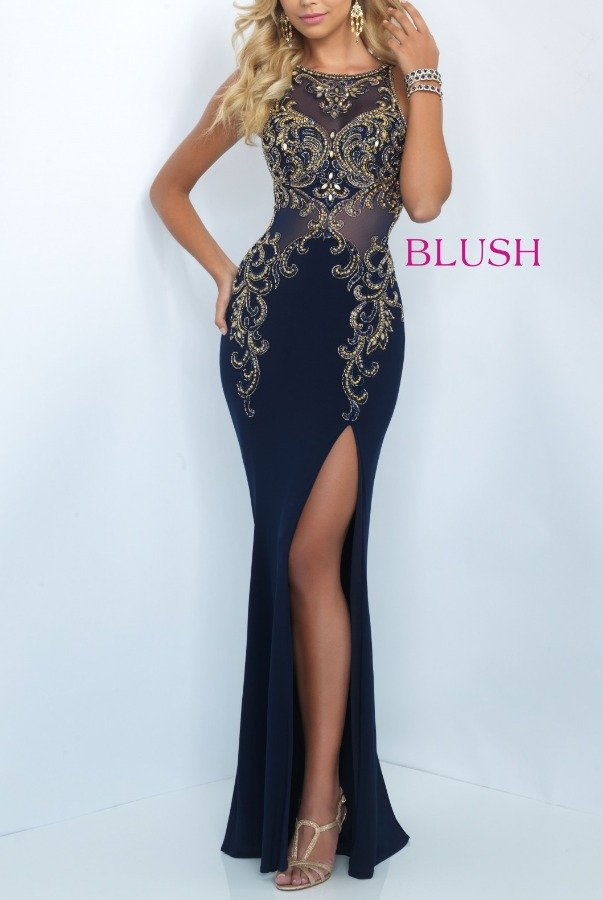 Blush  Tricolor High Slit Beaded Illusion Gown 11038