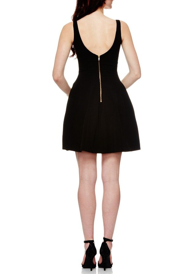 Betsy and Adam  Black Fit and Flare Taffeta Dress A17116