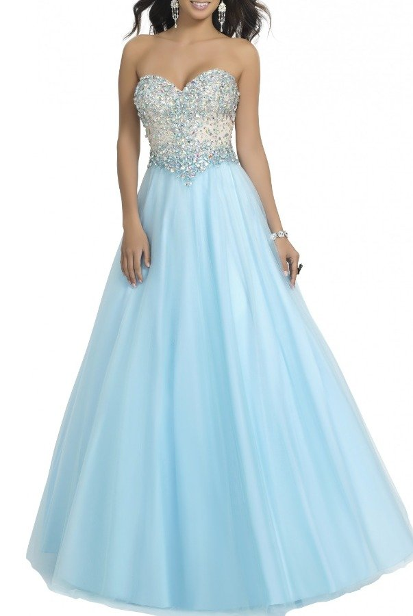 Blush Prom Blue Strapless Sweetheart A LineGown 67-B