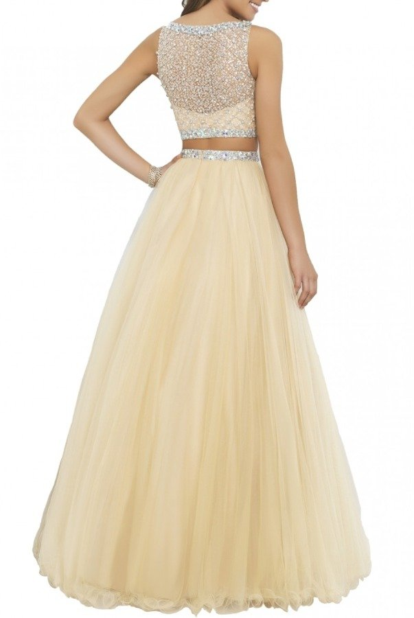 Blush Prom Two Piece Jeweled A Line Ball Gown 5400