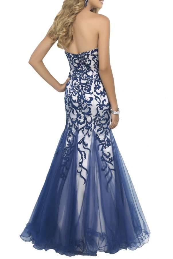 Blush Prom  Indigo Beaded Mermaid Strapless Gown 10013
