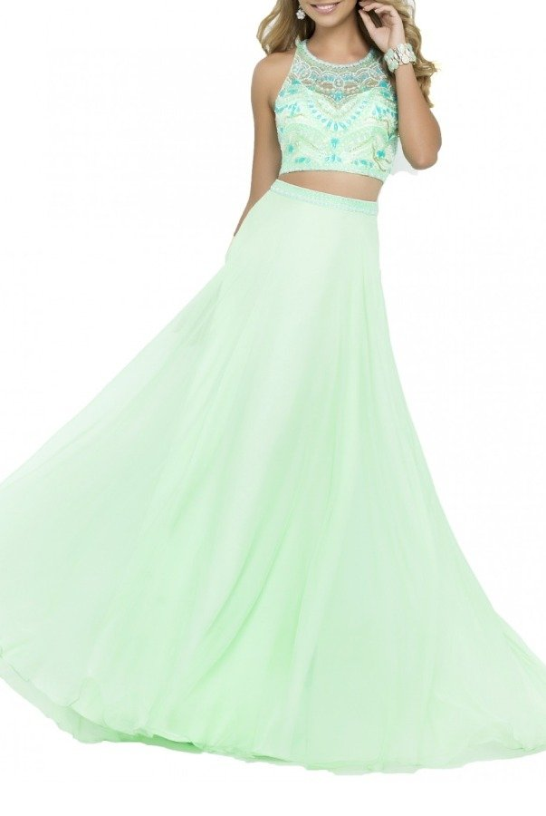 Blush Prom Honeydew Two-Piece A Line Gown 9916