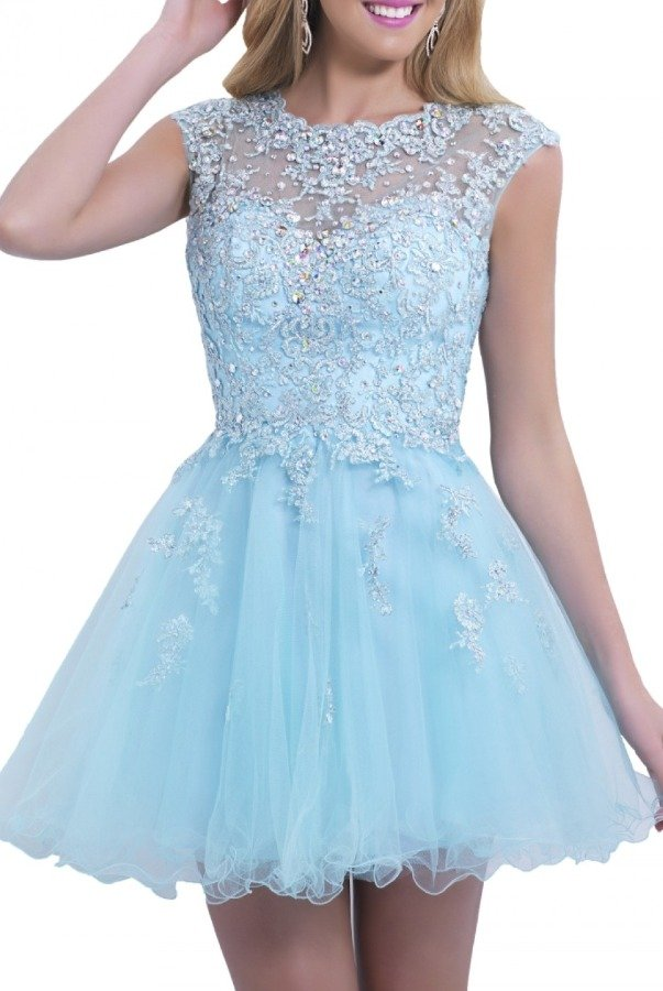 Blush Prom Pale Blue Floral Lace Cocktail Dress 9855