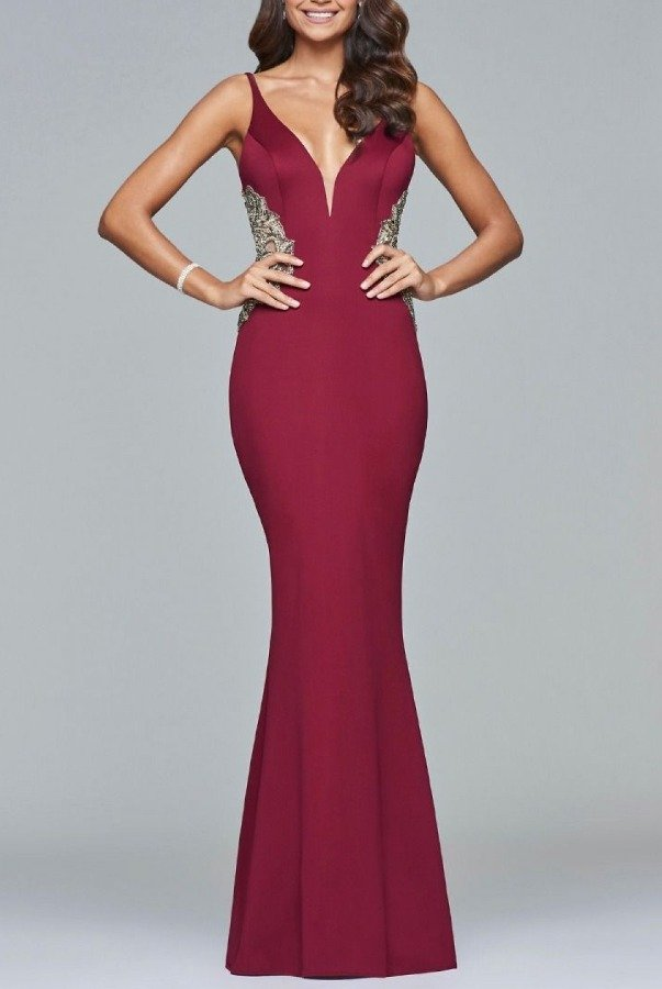 Faviana Red Trumpet Gown -Wine S7916-W