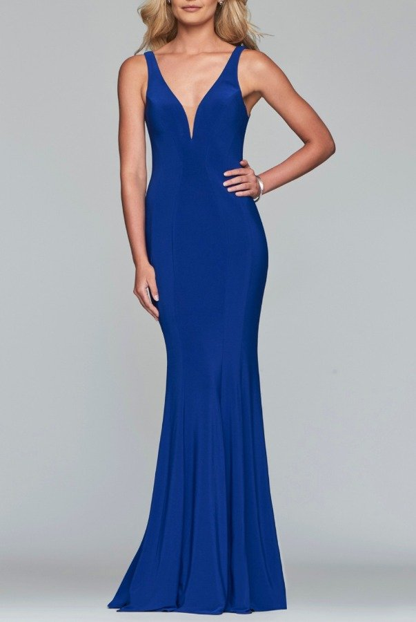 Faviana Blue Fitted V-Neck Gown 10223
