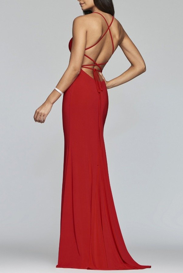 Faviana Red Fitted Jersey Gown S10205