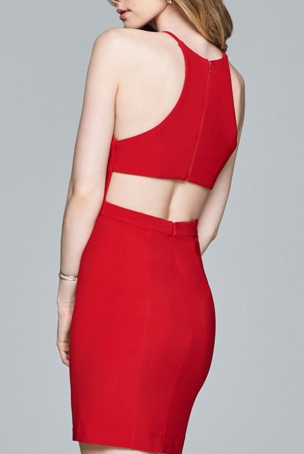 Faviana  Red Fitted Jersey Dress 8053