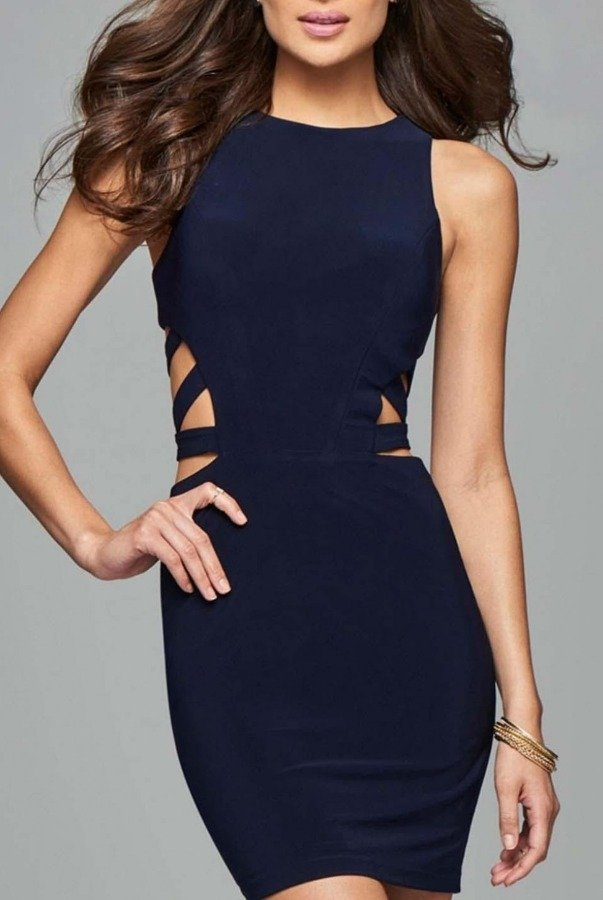 Faviana Navy Cut Out Cocktail Dress 7853