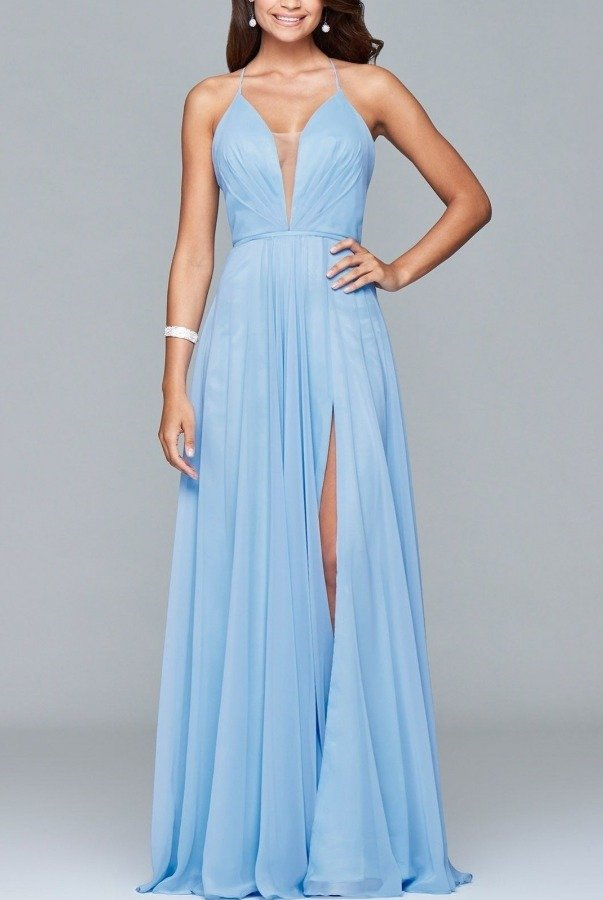 Faviana Blue Chiffon V-Neck Evening Gown  7747-B