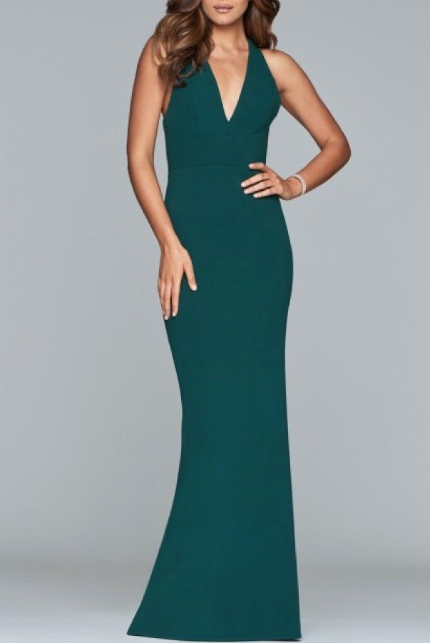 Faviana Green Fitted V Neck Gown S10287