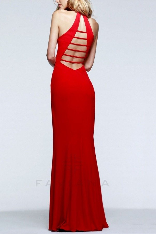 Faviana  ed V-Neck Evening Gown 7540-W