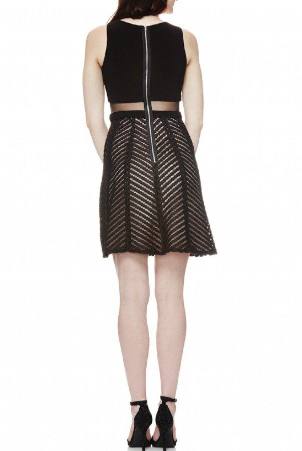 Betsy and Adam  Black Illusion A Line Cocktail Dress A17193