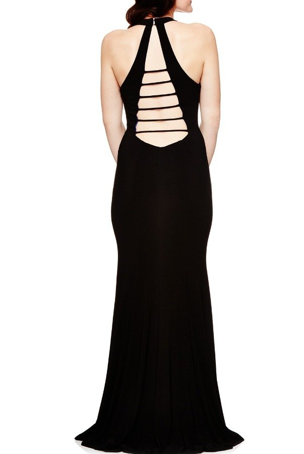 Betsy and Adam  Black Purple Open Back Dress With Slit A17349