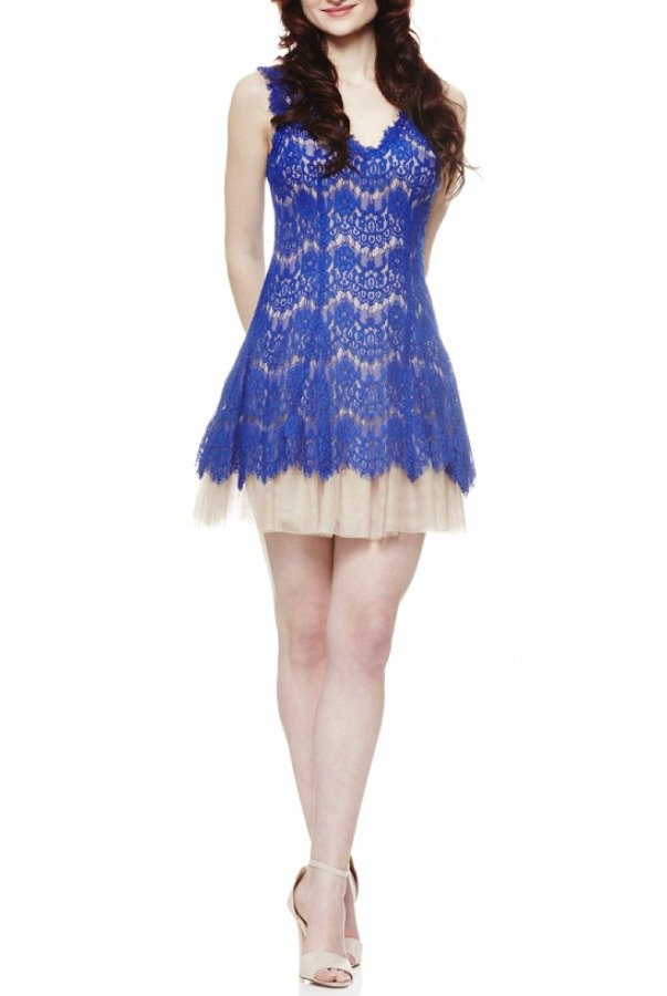 Betsy and Adam  Blue and Nude Lace Fit and Flare Dress 16028