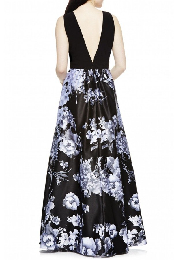 Betsy and Adam  Black Floral V-Neck A Line Ballgown A17121