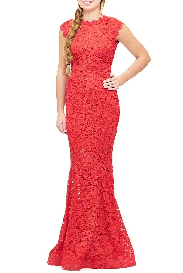 Betsy and Adam  Red Lace Floral Embroidered Mermaid Gown A17840-R