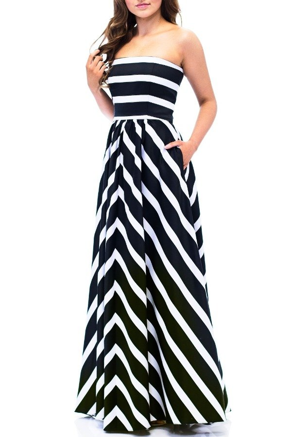 Betsy and Adam  Strapless Striped Empire Ballgown A16261