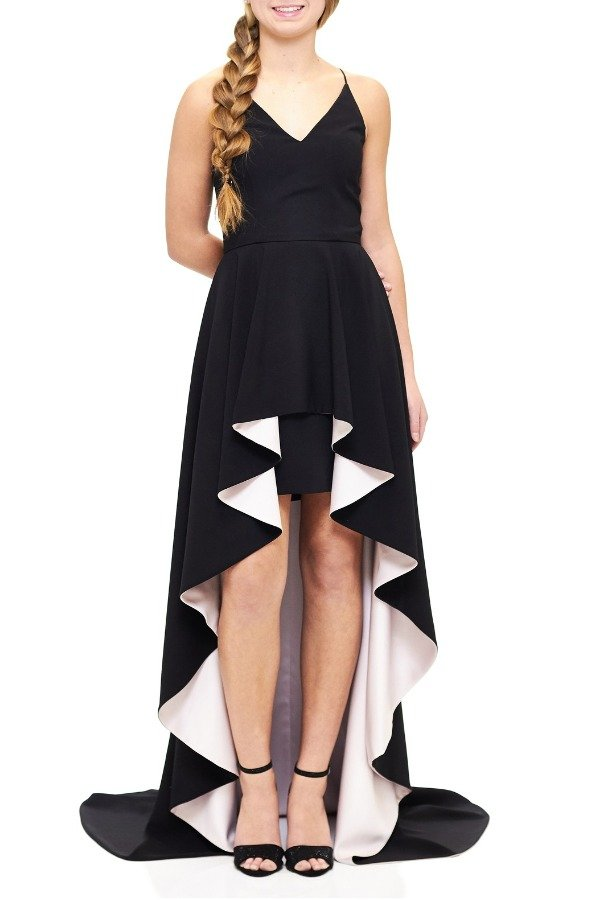Betsy and Adam  Black Asymmetrical Hi-Low Peplum Gown A17579